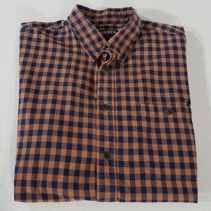 Orvis Indigo Check Long Sleeve Button Down Shirt